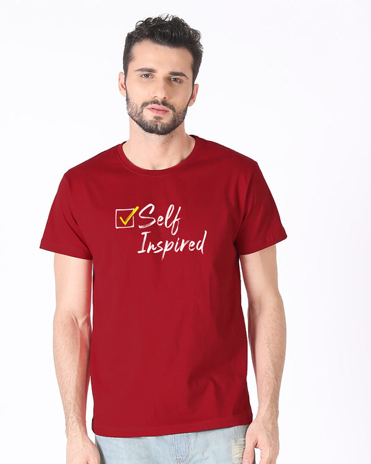 Shop Self Inspired Tick Half Sleeve T-Shirt-Front