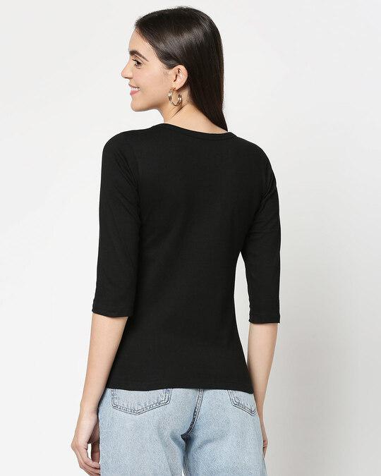 Shop Self love Jerry Round Neck 3/4 Sleeve T-Shirts Black (TJL)-Design