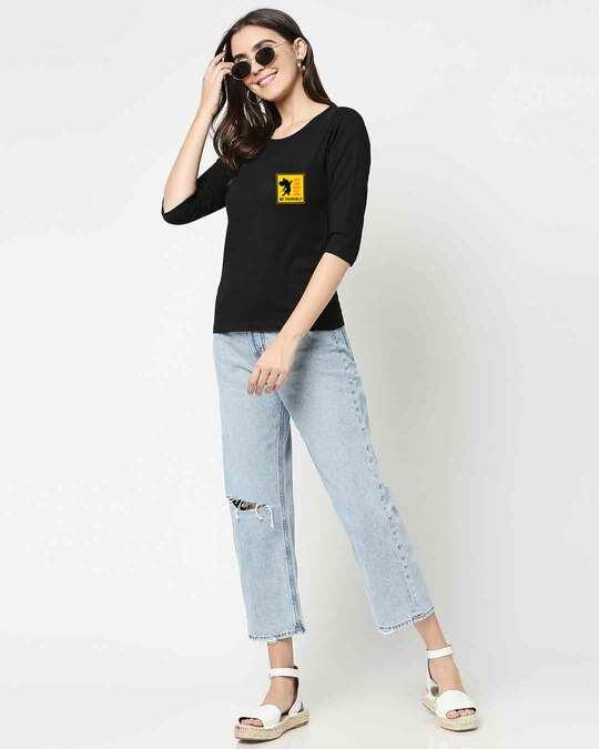 Shop Self love Jerry Round Neck 3/4 Sleeve T-Shirts Black (TJL)-Full