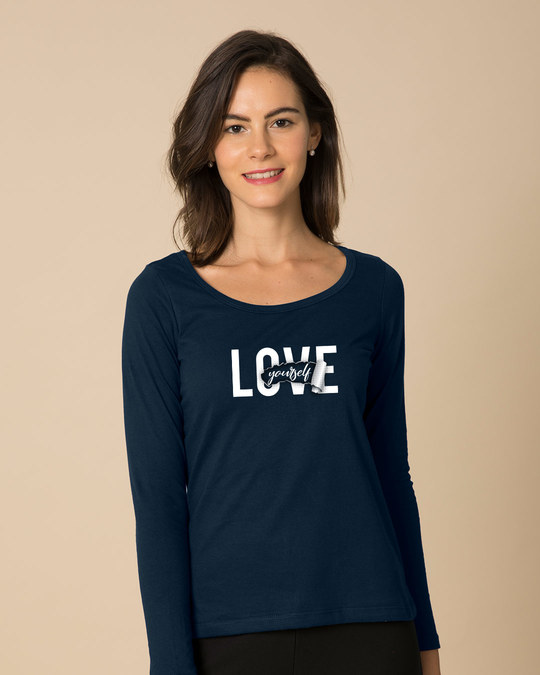 Shop Self Love Scoop Neck Full Sleeve T-Shirt-Front