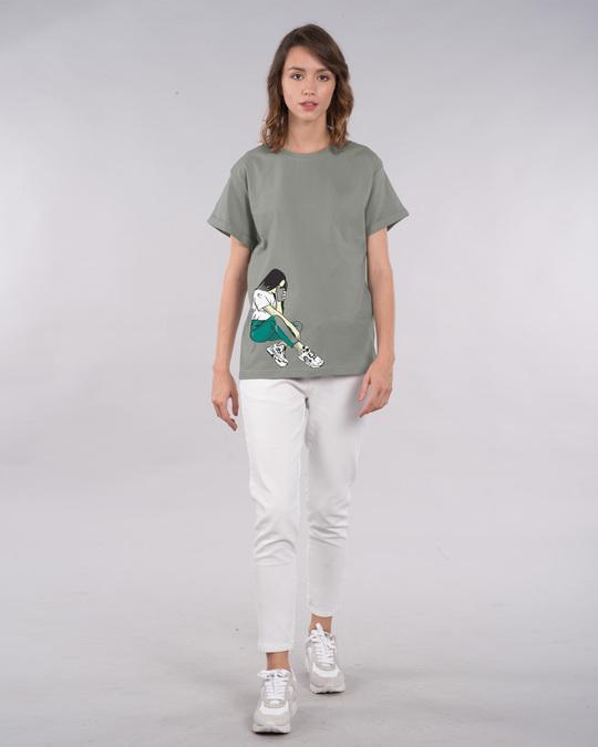 Shop Selfie Girl Pose Boyfriend T-Shirt-Full
