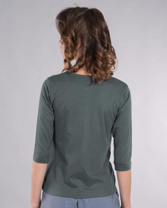 Shop Selfie Girl Pose Round Neck 3/4th Sleeve T-Shirt-Back