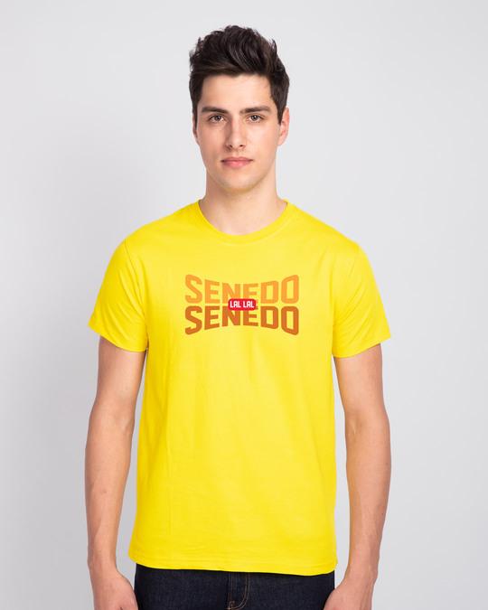 Shop Senedo Half Sleeve T-Shirt Pineapple Yellow-Front