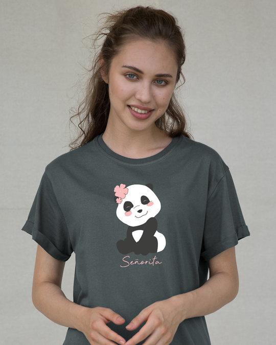 Shop Senorita Panda Boyfriend T-Shirt-Front