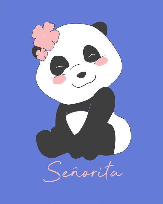 Shop Senorita Panda Round Neck 3/4th Sleeve T-Shirt-Full