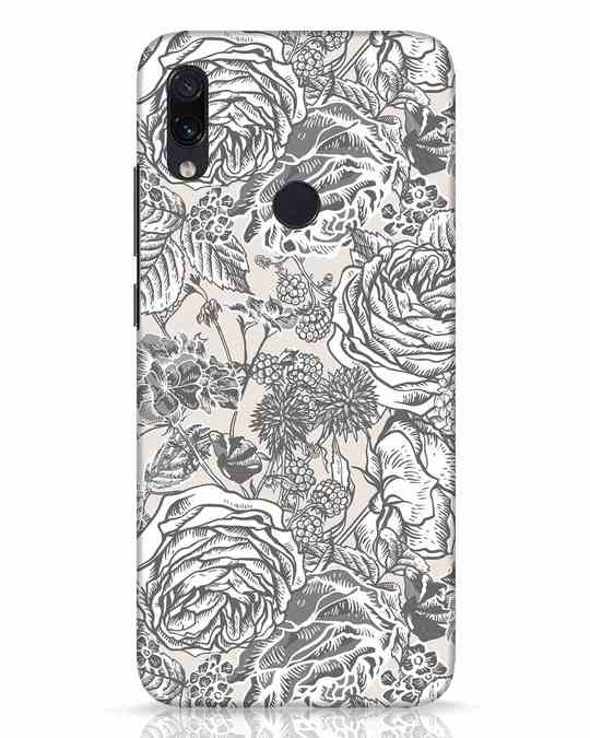 Shop Sepia Floral Xiaomi Redmi Note 7 Pro Mobile Cover-Front