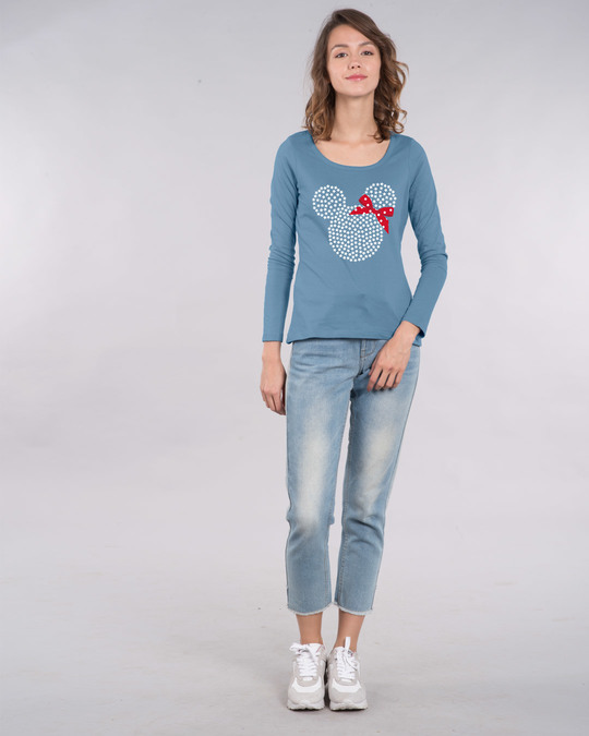 Shop Sequins Mickey Scoop Neck Full Sleeve T-Shirt (DL)-Design