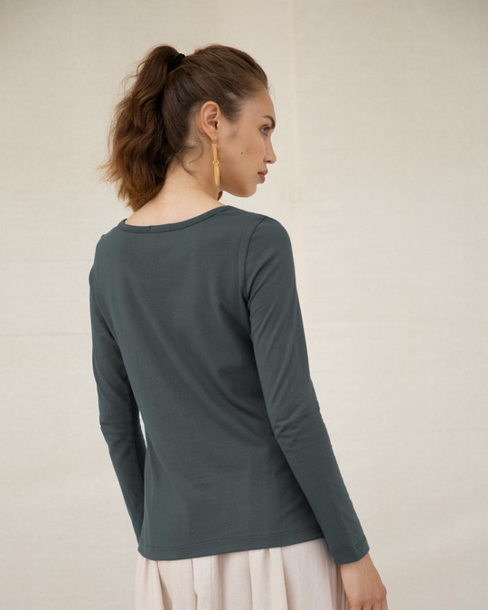 Shop Sequins Mickey Scoop Neck Full Sleeve T-Shirt (DL)-Back