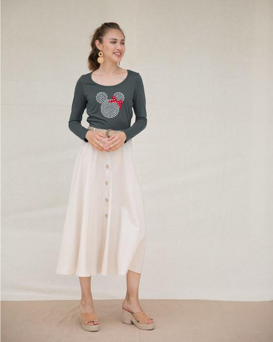 Shop Sequins Mickey Scoop Neck Full Sleeve T-Shirt (DL)-Design