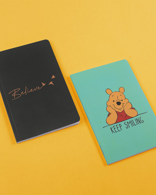 Shop Set of 2: Keep Smiling Pooh & Minimal Believe A5 Notebooks-Front