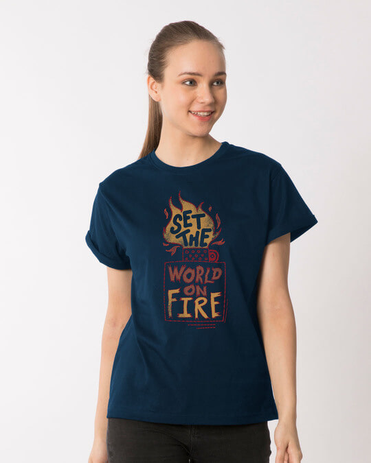 Shop Set The World On Fire Boyfriend T-Shirt-Front