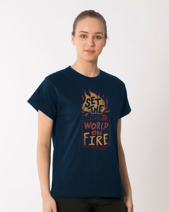 Shop Set The World On Fire Boyfriend T-Shirt-Back