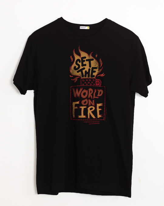 Shop Set The World On Fire Half Sleeve T-Shirt-Front