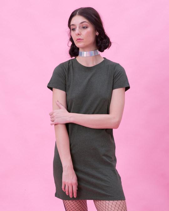 Shop Shadow Grey Melange T-Shirt Dress-Front