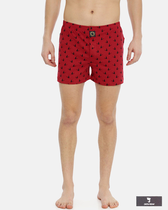 Shop Joven | Shark Fin Red Knitted Boxers-Front