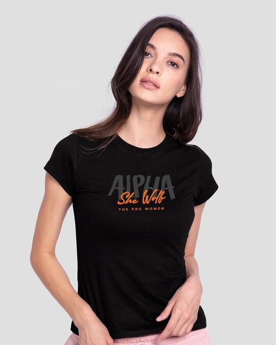 Shop She Wolf Half Sleeve T-Shirt Black-Front