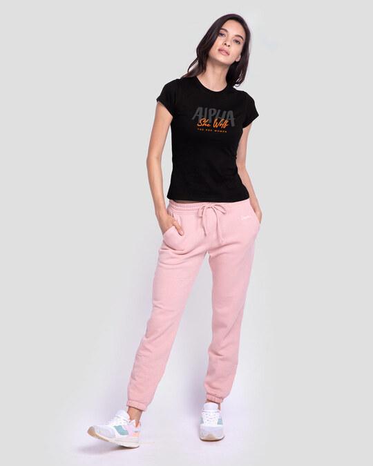 Shop She Wolf Half Sleeve T-Shirt Black-Design