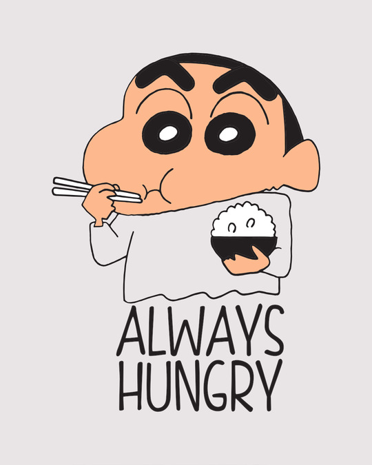 Shop Shinchan Always Hungry Boyfriend T-Shirt (SCL)-Full