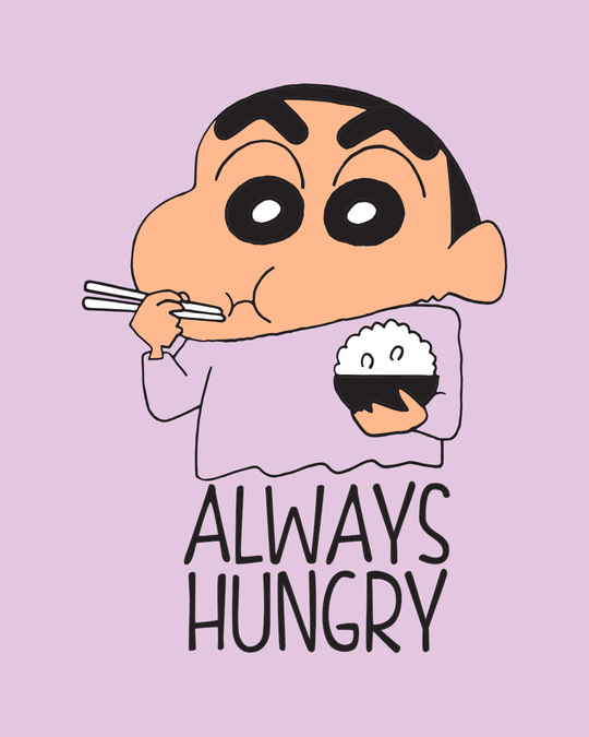 Shop Shinchan Always Hungry Round Neck 3/4th Sleeve T-Shirt (SCL)-Full