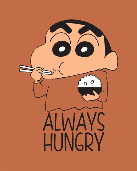 Shop Shinchan Always Hungry Scoop Neck Full Sleeve T-Shirt (SCL)