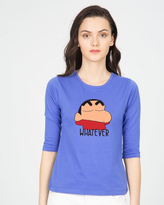 Shop Shinchan Whatever Round Neck 3/4th Sleeve T-Shirt (SCL)-Front
