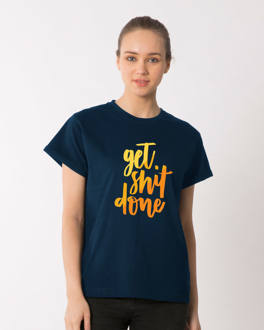Shop Shit Done Typo Boyfriend T-Shirt-Front