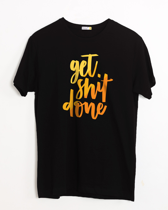 Shop Shit Done Typo Half Sleeve T-Shirt-Front