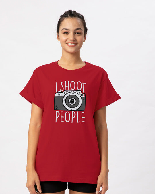 Shop Shoot People Boyfriend T-Shirt-Front