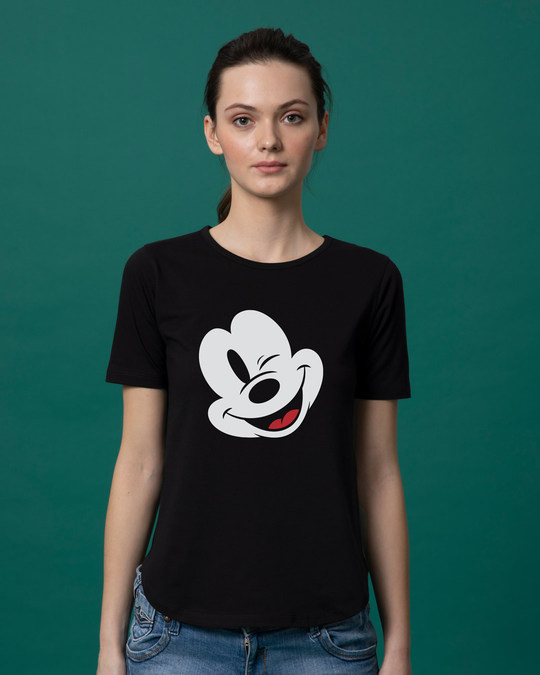Shop Sideways Mickey Basic Round Hem T-Shirt (DL)-Front