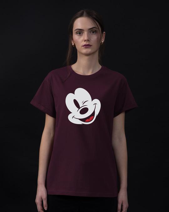Shop Sideways Mickey Boyfriend T-Shirt (DL)-Front