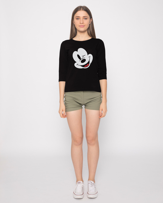 Shop Sideways Mickey Round Neck 3/4th Sleeve T-Shirt (DL)