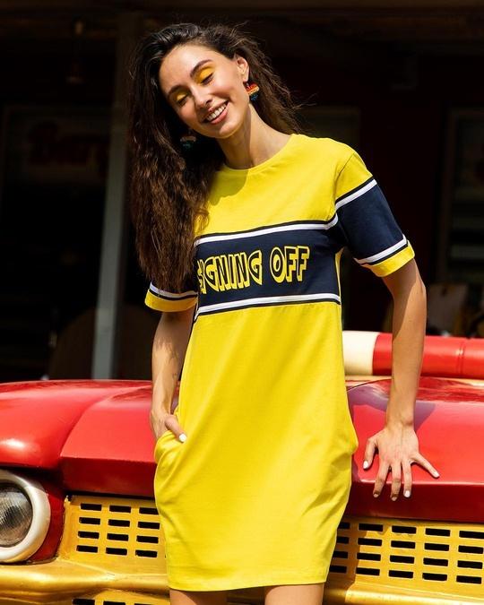 Shop Signing Off Color Block T-Shirt Dress-Front