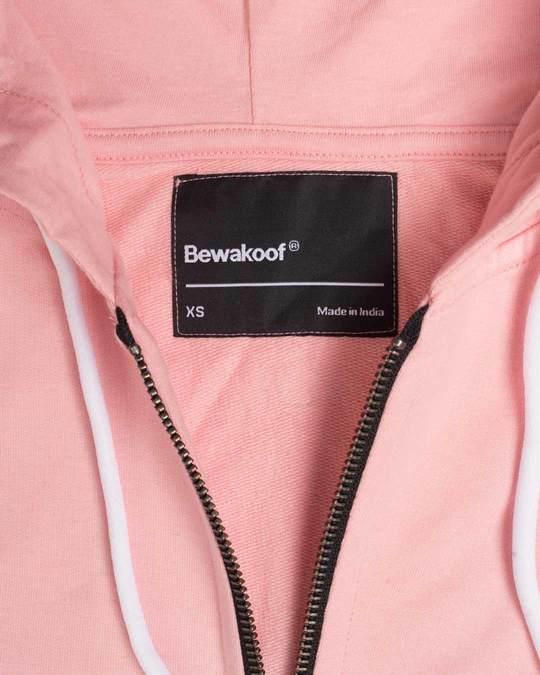 Shop Silver Pink Fleece Zipper Hoodies