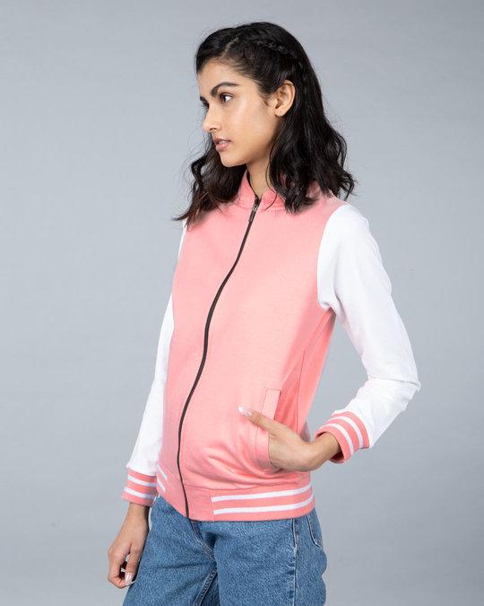 Shop Silver Pink Varsity Plain Bomber Jacket-Back