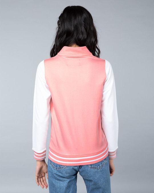Shop Silver Pink Varsity Plain Bomber Jacket-Full
