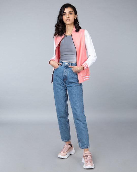 Shop Silver Pink Varsity Plain Bomber Jacket-Design