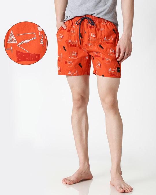 Shop Simple Maths Orange Cross Pocket Boxer-Front