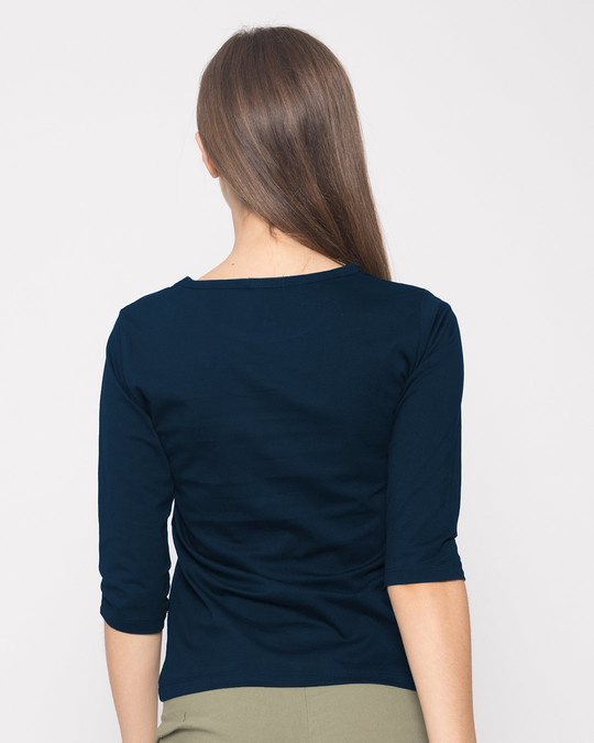 Shop Single All The Way Round Neck 3/4th Sleeve T-Shirt-Back