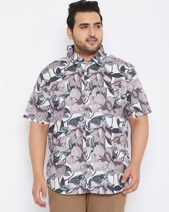 Shop Plus Size Men's Stylish Graphic Design Half Sleeve Casual Shirt-Design