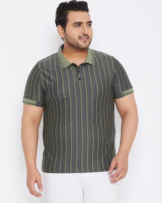 Shop Size Men Stylish Striped Half Sleeve Casual T Shirts-Design