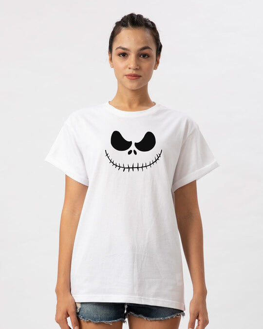 Shop Skellington Boyfriend T-Shirt-Front