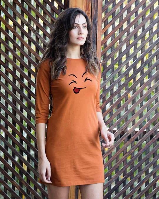 Shop Sketch Expression Boat Neck 3/4th Sleeve T-Shirt Dress-Back