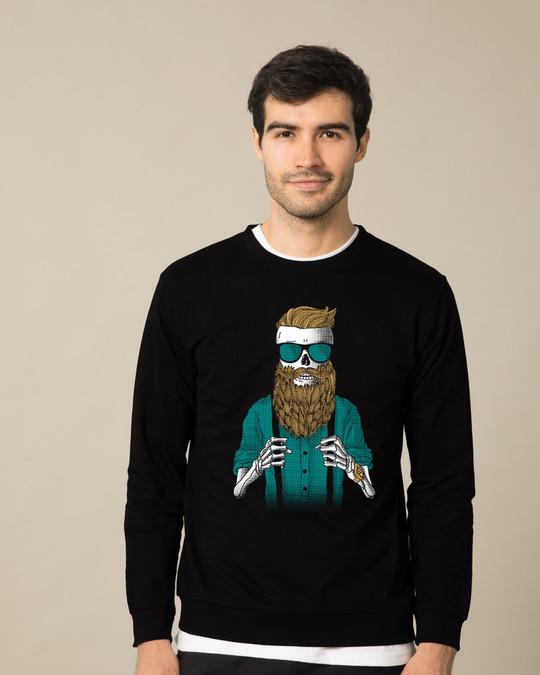 Shop Skull Beard Fleece Light Sweatshirt-Front