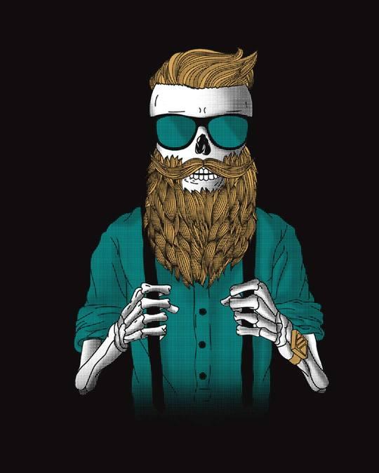 Shop Skull Beard Half Sleeve T-Shirt-Full