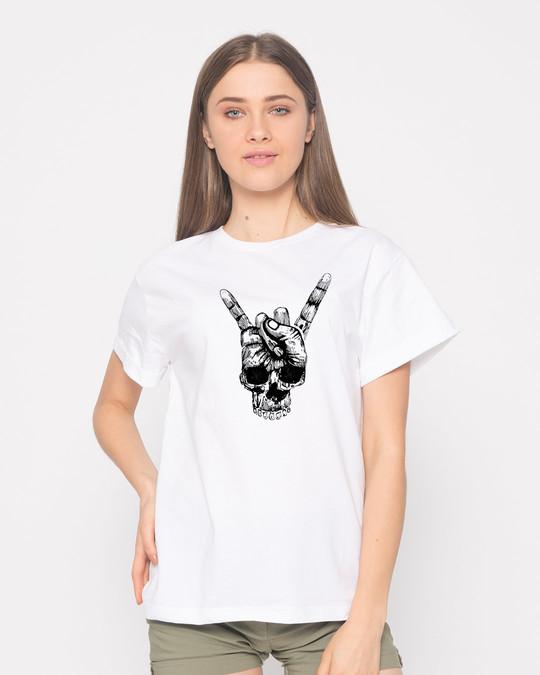 Shop Skull Horn Hand Boyfriend T-Shirt-Front