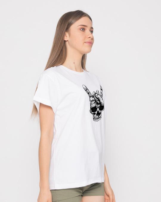 Shop Skull Horn Hand Boyfriend T-Shirt-Back