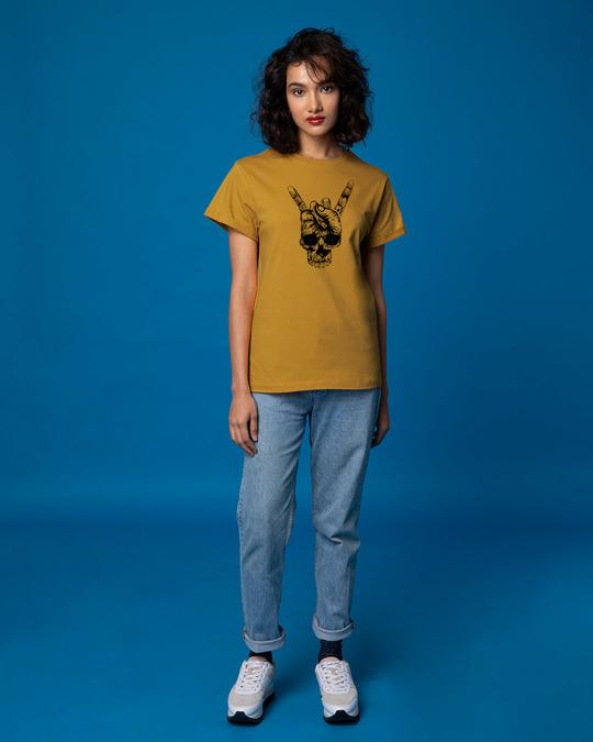 Shop Skull Horn Hand Boyfriend T-Shirt
