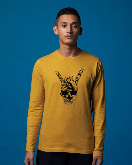 Shop Skull Horn Hand Full Sleeve T-Shirt-Front