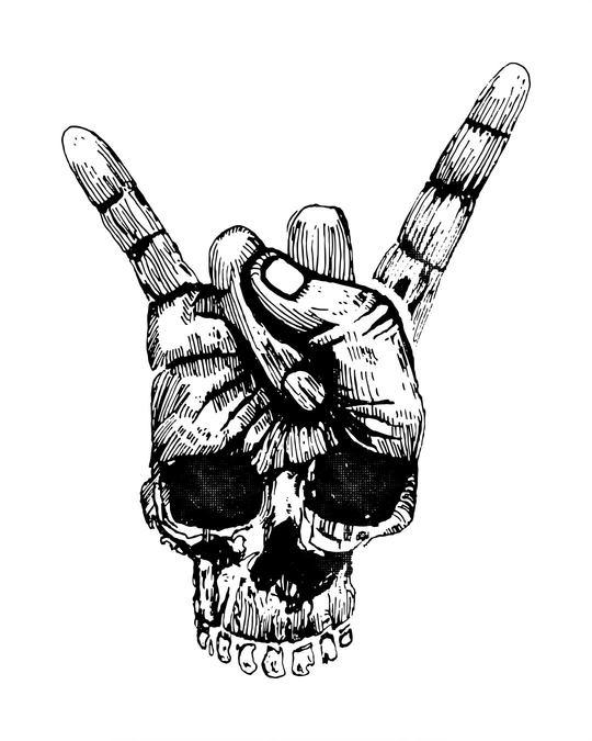 Shop Skull Horn Hand Half Sleeve T-Shirt