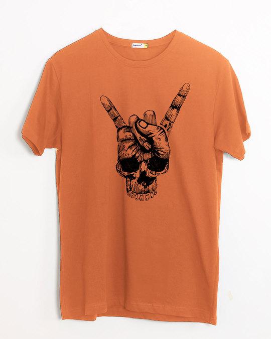 Shop Skull Horn Hand Half Sleeve T-Shirt-Front